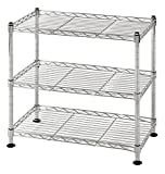 Muscle Rack WS181018-C Steel Adjustable Wire Shelving, 3 Shelves, Chrome, 18'' Height, 18'' width, 264 lb. Load Capacity
