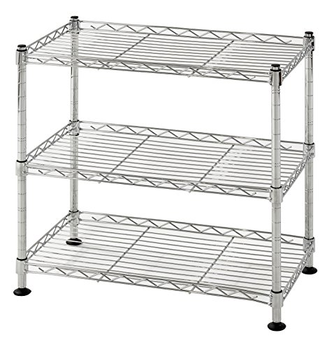 Open Adjustable Steel Shelving (Muscle Rack WS181018-C Steel Adjustable Wire Shelving, 3 Shelves, Chrome, 18