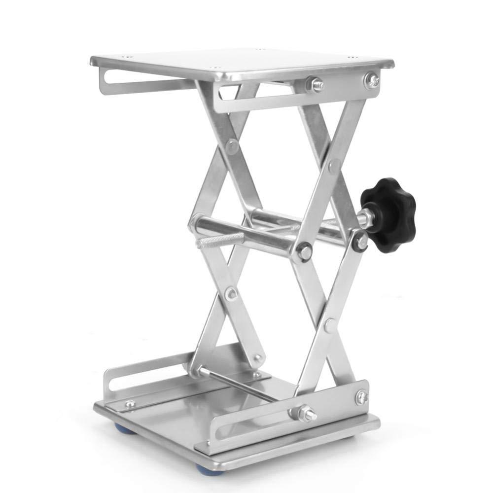 Akozon Piattaforma Sollevamento, 150 * 150 * 250mm Laboratorio Scientifico di Forbice Jack, in Acciaio Inox Stand Rack Scissor Lab-Lift Lifter