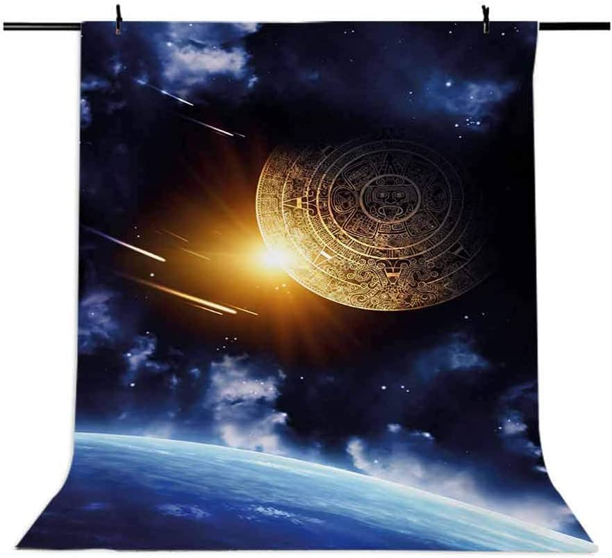 Galaxy 10x15 FT Photo Backdrops,Maya Calendar with Outer Space Background with Earth Mystical Astral Meteor View Background for Party Home Decor Outdoorsy Theme Vinyl Shoot Props Blue Yellow