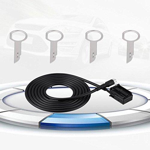 SODIAL 6000 CD MP3 Ingresso audio Cavo ausiliario Collegamento dati Linea di trasmissione per Ford Focus Mondeo con chiavi di rimozione