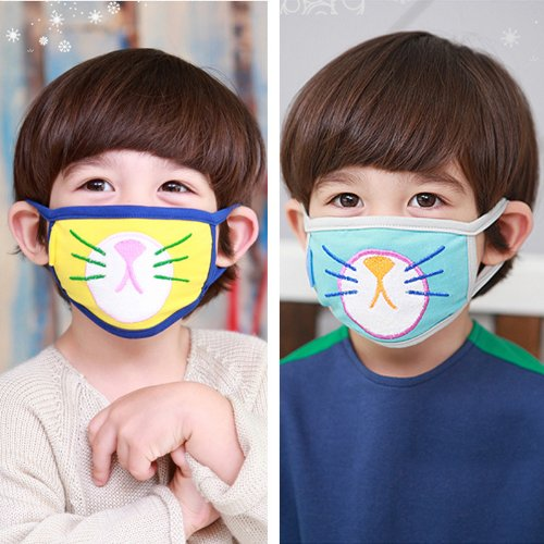 Mask And Face 2 Dust Pink Student Child's Yellow Earloop Cotton Cartoon Pcs Cat Blue Anti-fog Anti-dust Kitty Home Famixyal Lovely