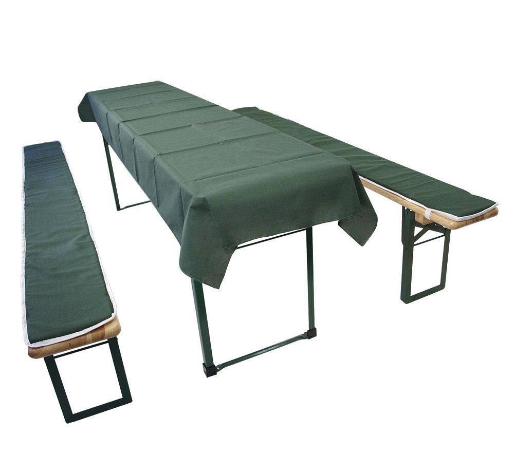 DEGAMO Auflagen Set für Festzeltgarnitur mit 50cm + 70cm Tisch, dunkelgrün