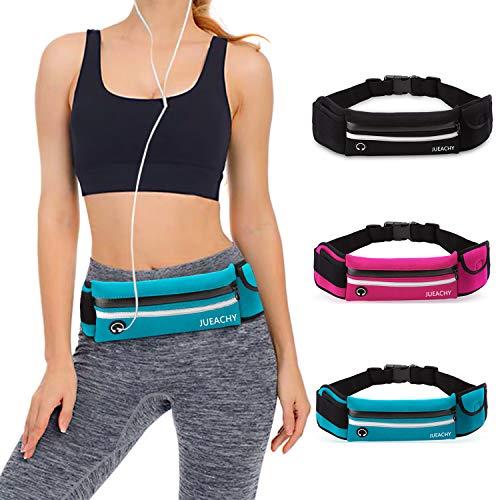 - Jueachy Running Belt for Man Women, Runners Belt Water Resistant Waist Pouch Phone Holder Adjustable Workout Pack with Headphone Port, Blue