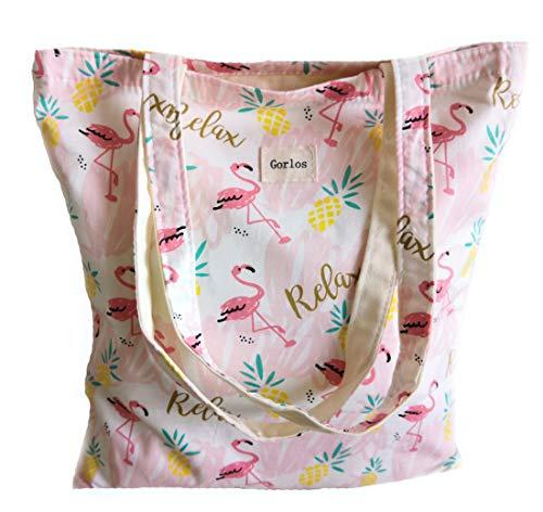 Women's Canvas Tote Shoulder Bag Stylish Shopping Casual Bag Foldaway Travel Bag (21-No closure-flamingos-Pink)]()