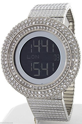 KING MASTER 65.00ct Lab Made Diamond Watch Aqua Master Fully Iced Out Mens Digital Watch Stainless Steel Metal Band