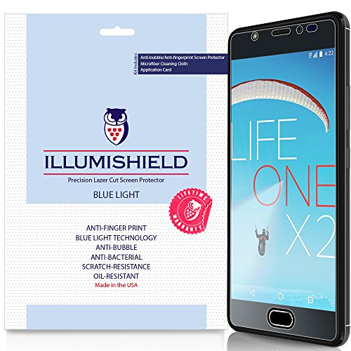 BLU Life One X2 Screen Protector [2-Pack], iLLumiShield Blue Light Screen Protector for BLU Life One X2 HD Shield with Anti-Bubble & Anti-Fingerprint UV-Filter Film