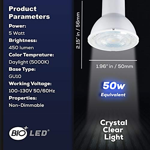 Bioled 10 Pack GU10 5W (50Watt Halogen Bulb Equivalent) Daylight 5000K LED Light Bulbs, 120V Spotlight Bulb, Track Lighting Bulb, Recessed Lighting Bulb, Non-dimmable, 40° Beam Angle Spotlight