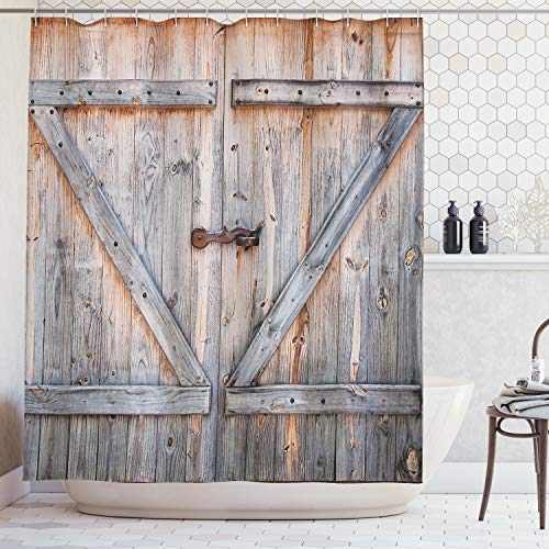 Ambesonne Fabric Shower Curtain Country Decor by, Old Wooden Garage Door American Style Decorations for Bathroom Print Vintage Rustic Theme Decor Home Antiqued Look Polyester, Bronze ()