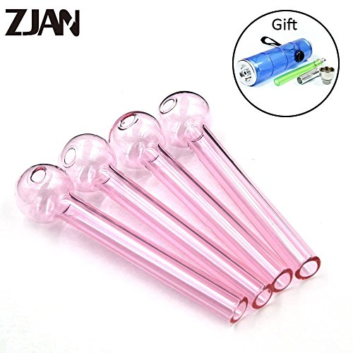 ZJAN 4PCS Handmade Stained Glass items, Oil Burners, 4.8 inches long, Thick Glass (Pink)
