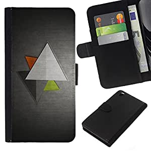 All Phone Most Case / Oferta Especial Cáscara Funda de cuero Monedero Cubierta de proteccion Caso / Wallet Case for HTC DESIRE 816 // Triangle Geometrical Art Green Red Modern