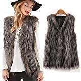 Changeshopping Women Vest Sleeveless Coat Outerwear faux fur Long Hair Jacket Waistcoat