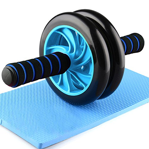 forestfish Ab Roller Wheel Core Training Exercise Roller Abdominal Fitness Workouts Pushups Training with Knee Pad for Man Woman Home Gym Equipment (Blue)