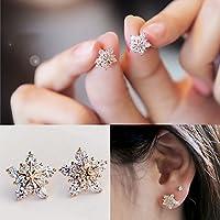 Sweet Rose Gold Crystal Snowflake Rhinestone Stud Earrings Womens Jewelry Gift