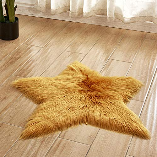 vmree Super Soft Wool-Like Faux Fur Area Rug Fluffy Antiskid Star Shaped Foot Carpet Mat Baby Nursery Playmat Elegant Living Room Bedroom Hallway Home Office Decor (Yellow, 2×2 Ft.)