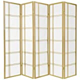 Oriental Furniture 6 ft. Tall Double Cross Shoji Screen - Special Edition - Gold - 5 Panels