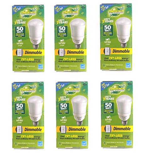 (Set of 6 Earth Bulb Brand Dimmable CFL R20 Soft White 2700K 670 Lumens 50 Watts Light)