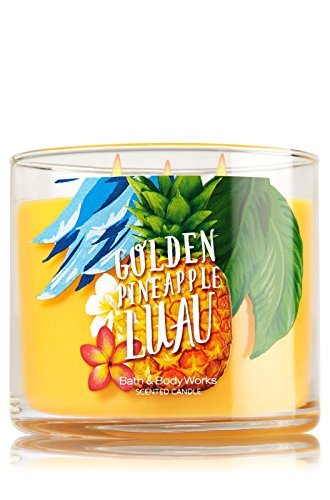 Bath and Body Works GOLDEN PINEAPPLE LUAU 14.5 Oz 3 Wick Large Jar Scented Candle by Bath and Body Works