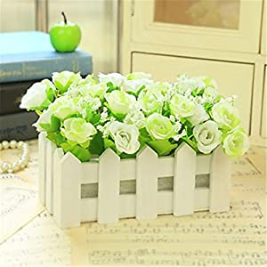 JJH 1 Branch Silk Plastic Roses Tabletop Flower Artificial Flowers 97