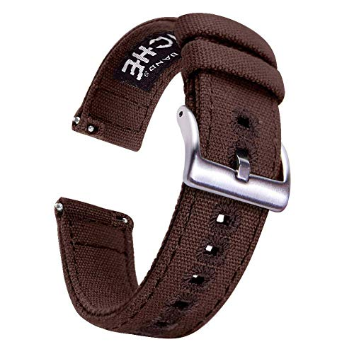 18mm Dark Brown Canvas Quick Release Watch Bands Compatible with Citizen Watch Straps for Men (Solid Band Watch Wrist)