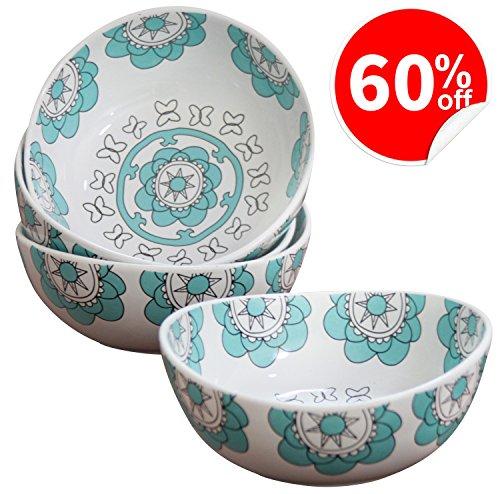 Porcelain Bowl Set 4 for Soup Cereal Rice, Hand Made Floral Pattern Decorative Bowls, Mint (Flower Bowl Set)