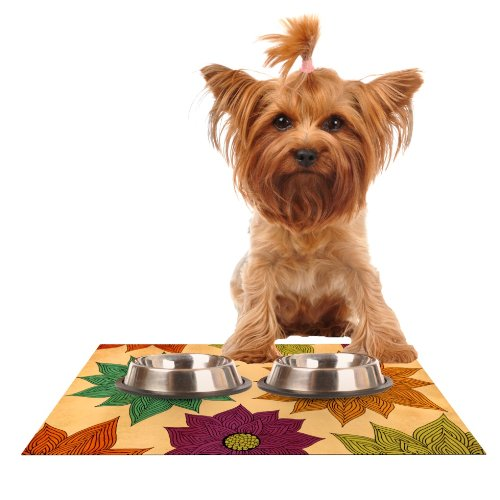 Kess InHouse Pom Graphic Design color Me Floral  Feeding Mat for Pet Bowl, 18 by 13-Inch