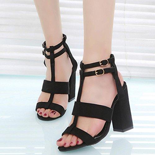 Elevin (tm) Mode Femmes Dames Sandales Learher Cheville Talons Hauts Bloc Party Ouvert Orteil Chaussures Simples Noir