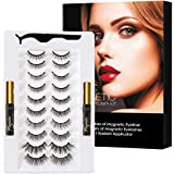 HSBCC Updated 3D 6D Magnetic Eyelashes and Eyeliner Set- 2 Tubes of Magnetic Eyeliner & 10 Pairs Magnetic Eyelashes Kit-With