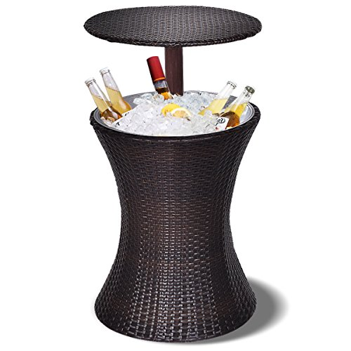 Giantex Adjustable Cool Bar Table Outdoor Patio Rattan Ice Cooler Party Deck Pool 1PC, Brown (Left Side Ice Bin)
