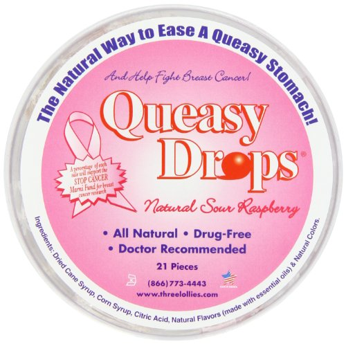 Three Lollies Queasy Drops | Pink | Supporting Breast Cancer Awareness | Sour Raspberry | 21 Drops ()