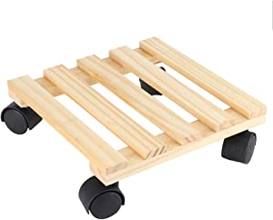 Plant Wooden Stand Wheels Wooden Flower Plant Pot Base Roller Moving Tray Rack Holder with Wheels for Garden Supplies