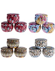 Blesiya 12Pcs/Pack Tinplate Empty Tins, Candy Box Retro Home Kitchen Storage Containers Reusable Tin Pots Jars