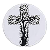 Thick Round Beach Towel Blanket,Baptism,Floral Christian Cross in Tree Shape Christ Religion Prayer Blessed Miracle Symbol,Black Cream,Multi-Purpose Beach Throw