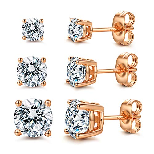CZ Stud Earrings 925 Sterling Silver 18K Gold Plated Round Cubic Zirconia Hypoallergenic Set (Rose Gold Plated (3 Pairs))