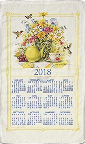 2018 Kitchen Linen Calendar Towel with Dowel for Easy Hanging (Wildflower Tea)