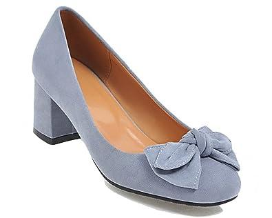 bdd849300e7 HiTime Women's Comfort Suede 5 cm Mid Heeled Pumps Sweet Bowknot Princess  Dress Court Shoes OL Work Shoes Size 2-10