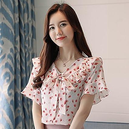WXIN Camisa De Chifón con Lazo De Verano, Blusa Floral con Manga De Trompeta,