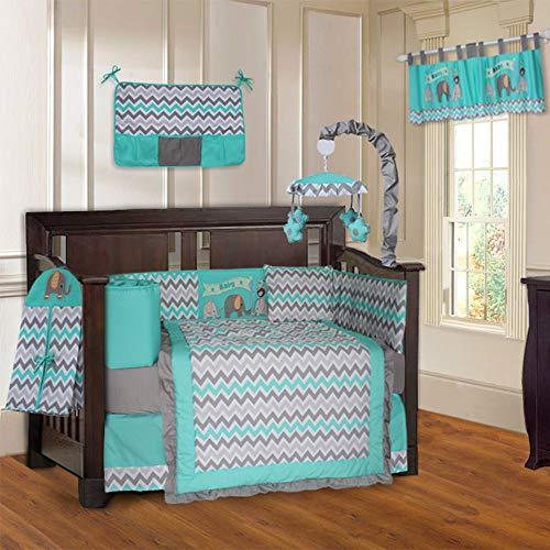 10 Piece Grey Turquoise Elephant Chevron Baby Crib Bedding Set with Musical Mobile Zig-Zag Stripes Animal Crib Bedding for Girls Boys Nursery Bed Set Infant Child Blanket Quilt Skirt & More, Cotton