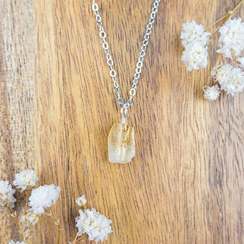 - Tiny raw citrine gemstone pendant necklace in 925 sterling silver - 16