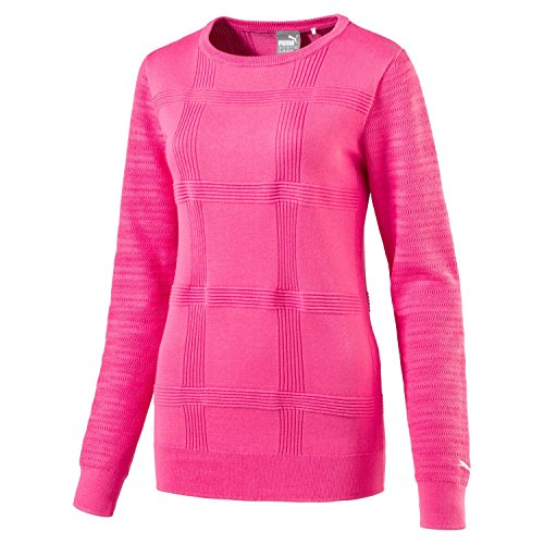 PUMA Crewneck Golf Sweater 2017 Ladies Shocking Pink Medium