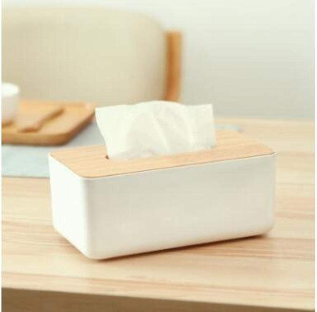 dice Removable Plastic Tissue Box with Oak Wooden Cover Phone Holder Napkins Case Home Organizer Decoration,2
