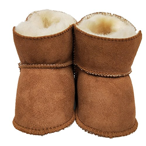 HONGTEYA Sheepskin Baby Bootie -100% Pure Australian Sheepskin Baby Girl's Winter Boots (Infant) (14cm 5.51inch 6-12months, Brown)