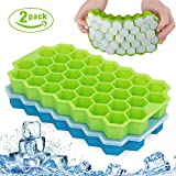 Fxexblin Ice Cube Trays, 2 Pack 74 Cubes Silicone Ice Trays with Removable Lid Stackable Lattice Honeycomb Silica Gel Ice Lattice Blue + Green with Cover 2 Sets (Green+Blue)