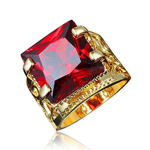 Red Ruby Square Gemstone Wedding Promise Ring Size 9(Size US6, US7,US8,US9)
