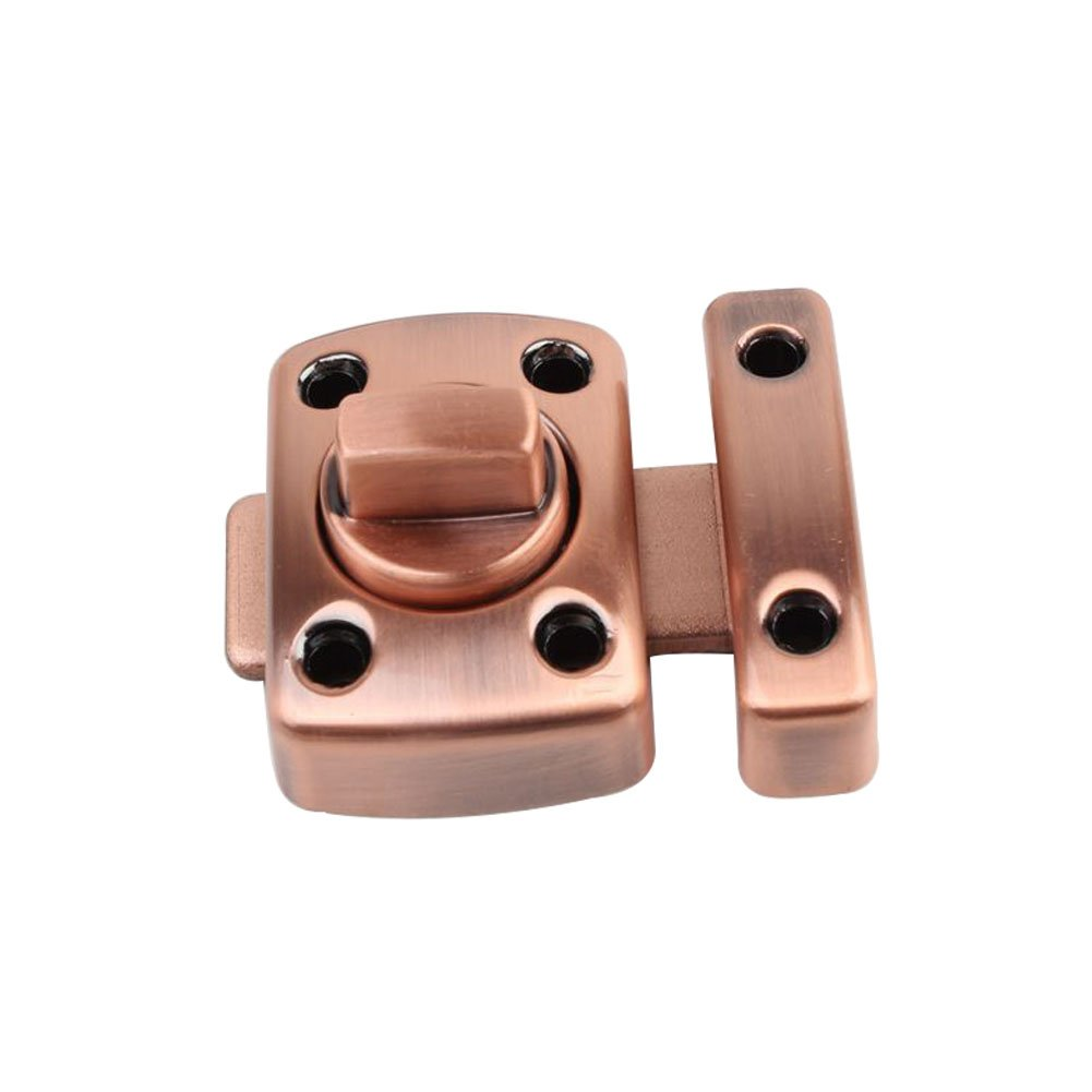 CGMJ 1-Pack Sliding Door Latch Rotate Bolt Latch Safety Door Lock Gate Latches (Large, Antique Red)