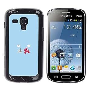 // PHONE CASE GIFT // Duro Estuche protector PC Cáscara Plástico Carcasa Funda Hard Protective Case for Samsung Galaxy S Duos S7562 / Origami & Balloon Love - Funny /