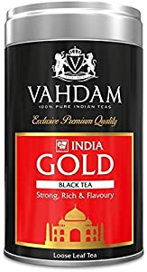Vahdam, India Gold,Tin Caddy - Strong, Rich & Flavoury,100% Pure, Unblended, Single Origin Assam Loose Leaf Black Tea - Grown,Direct from Source in India - Perfect Tea Gift Set- 3.53oz (Pack of 1)