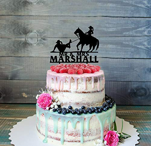 Western Cowboy Cowgirl Horse Riding Wedding Cake Topper, Personalized Cake Topper,Party Event Favors Decorations