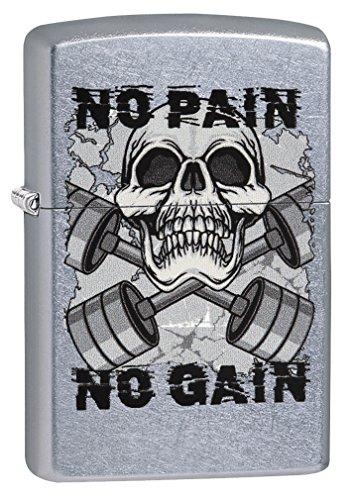 (Zippo Lighter: Skull, No Pain No Gain - Street Chrome 79224)