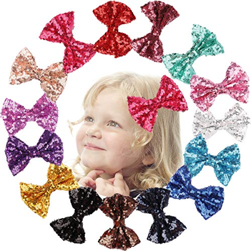 BAHABY 15 Pack Hair Clips for Girls 4 Inch Glitter Sparkly Bows Clips for Kids and Teen Stylish and Hair Accessories…